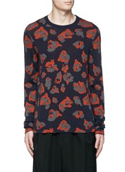 Lanvin Leopard Jacquard Cotton Wool Sweater Blue Animal Print