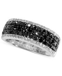 Effy Collection Caviar By Effy Black 1 Ct. T.W. And White Diamond 1 5 Ct. T.W. Band In 14K White Gold