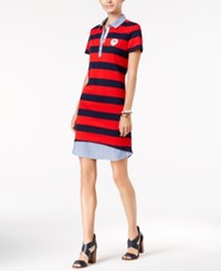 Tommy Hilfiger Arielle Layered Look Polo Dress Racing Red