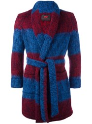 Massimo Piombo Mp Striped Belted Robe Coat Blue