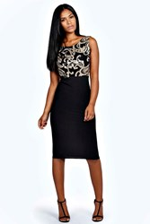 Boohoo Sequin Top Bodycon Midi Dress Black