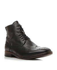 Dune Cobbler Lace Up Vintage Style Wingtip Boots Dark Grey