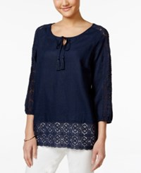 Charter Club Petite Linen Crochet Trim Peasant Blouse Only At Macy's Intrepid Blue