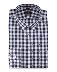 Neiman Marcus Trim Fit Big Check Dot Dress Shirt Navy