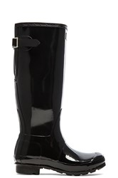 Hunter Original Back Adjustable Gloss Rain Boot Black