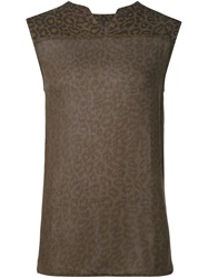 Raquel Allegra Leopard Print Sleeveless Top Green