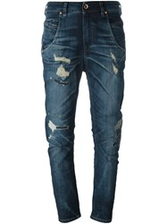 Diesel Distressed Curved Leg Jeans Blue