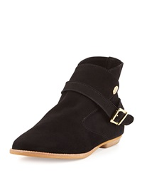 House Of Harlow Hollie Suede Leather Ankle Wrap Bootie Black