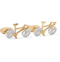Paul Smith Racing Bike Gold And Silver Tone Cufflinks Copper
