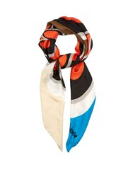 Diane Von Furstenberg Silk Square Scarf Orange Multi
