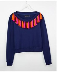 House Of Holland Tasselled Boat Neck Sweatshirt Navy