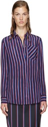 Altuzarra Navy Striped Silk Chika Shirt