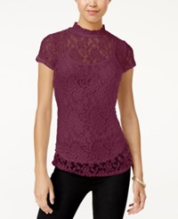 Almost Famous Juniors' Mock Neck Lace Top With Cami Zinfandel