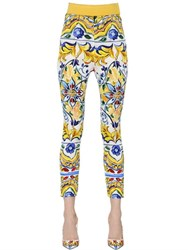 Dolce And Gabbana Maiolica Printed Silk Charmeuse Pants