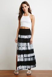 Forever 21 Side Slit Tie Dye Maxi Skirt Navy White