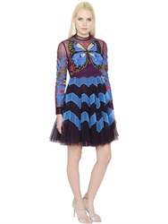 Mary Katrantzou Butterfly Embroidered Plisse Tulle Dress