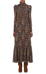 Saint Laurent Women's Crepe Long Sleeve Maxi Dress Brown Blue No Color
