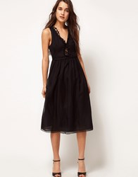 Kore By Sophia Kokosalaki Star Trim Midi Dress Black