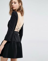 Baandsh Taxi Dress With Cross Back Detail Black