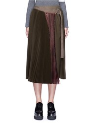 Sacai Lame Pleated Flannel Wrap Midi Skirt Green