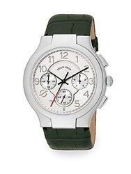 Philip Stein Teslar Round Chronograph Stainless Steel And Leather Strap Watch Green