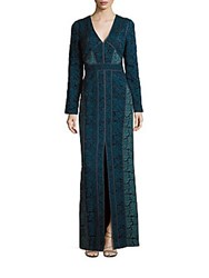 J. Mendel Long Sleeve Lace Dress Turquoise