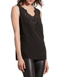 Lauren Ralph Lauren Lace Trim Silk Tank Black