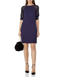 Reiss Dalston Sheer Sleeve Dress Indigo Blue