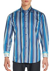 Robert Graham Classic Relaxed Fit Striped Cotton Sportshirt Blue