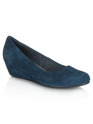 Daniel Flaxton Low Wedge Round Toe Shoes Navy