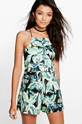 Boohoo High Neck Tropical Print Playsuit Multi