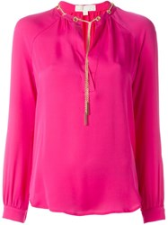Michael Michael Kors Chain Neck Blouse Pink And Purple