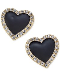 Thalia Sodi Gold Tone Crystal Enamel Heart Stud Earrings Only At Macy's Black