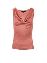 Morgan Glittery Knit Cowl Neck Sleeveless Top Rose