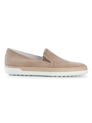 Tod's Suede Espadrilles Nude And Neutrals