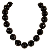 Brass Fusion Black Onyx Facted 18Mm Bead Necklace