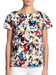 Carolina Herrera Printed Cap Sleeve Blouse Multicolor