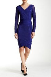 Wow Couture Two Piece Set Mesh Sleeve Bodycon Dress Blue