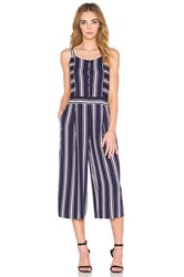 1. State Button Front Culotte Jumpsuit Navy
