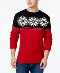 Weatherproof Snowflake Yoke Sweater Tartan Red