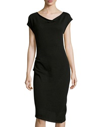 Neiman Marcus Ruched Cap Sleeve Cashmere Dress Black