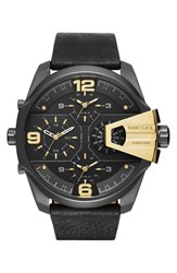Men's Diesel 'Uber Chief' Chronograph Leather Strap Watch 55Mm Black Gold Black