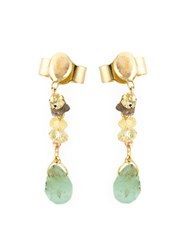 Natasha Collis Emerald Sapphire And Diamond Drop Earrings Metallic