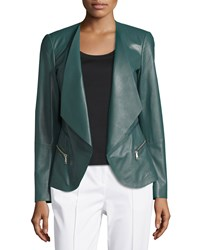 Lafayette 148 New York Becca Leather Flyaway Jacket Hemlock