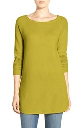 Petite Women's Halogen Shirttail Wool And Cashmere Boatneck Tunic