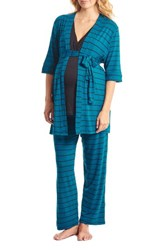 Everly Grey Women's Roxanne During And After 5 Piece Maternity Sleepwear Set Teal Stripe