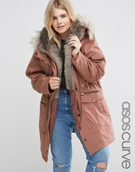 Asos Curve Parka With Detachable Faux Fur Dusky Rose Pink