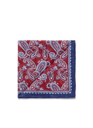 Isaia Paisley Print Linen Pocket Square Red