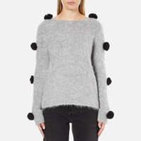 Msgm Women's Pom Pom Brushed Mohair Jumper Grey