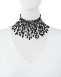 Amrita Singh Jewelry Pipa Embellished Lace Bib Necklace Black
